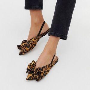 ASOS DESIGN bow slingback ballet flats in leopard